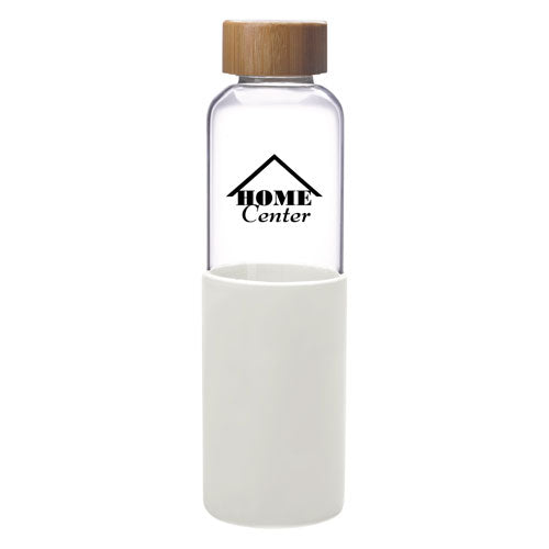 White Custom Modern Glass Water Bottle