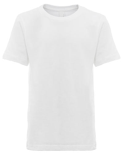 White Custom Next Level Youth Boys' Cotton Crew