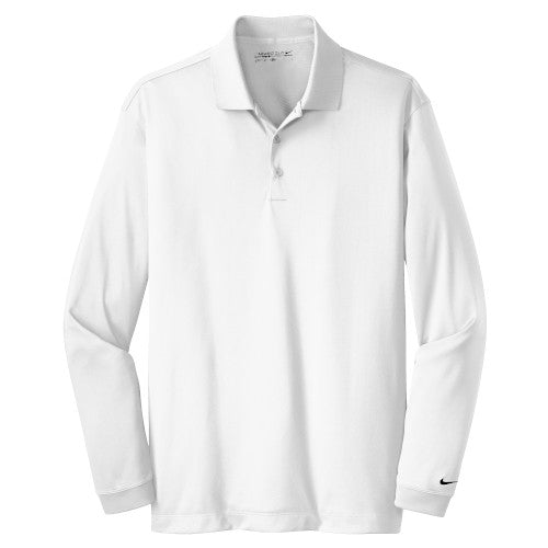 White Nike Dri-FIT Long Sleeve Golf Shirt WIth Logo