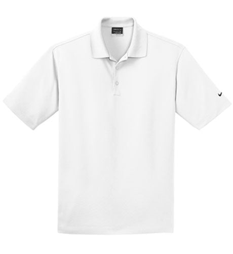 White Nike Dri-FIT Micro Pique Polo With Logo