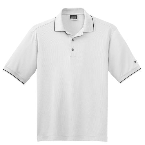 White Tipped Nike Dri-FIT Golf Shirt With Logo