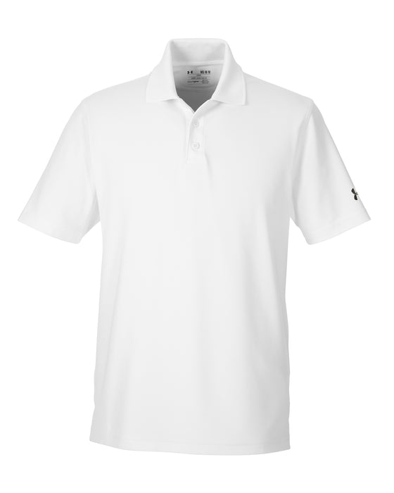 White Custom Under Armour Performance Polo With Logo