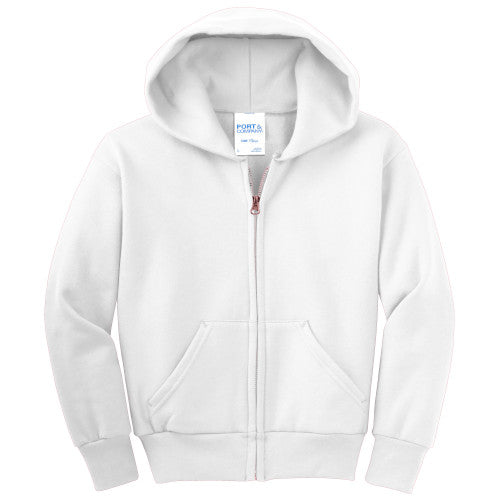 White Custom Youth Full Zip Hooded Sweatshirt