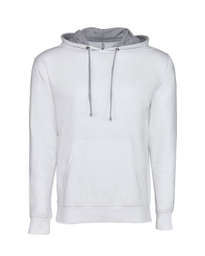 White/ Heather Grey Custom Next Level Unisex French Terry Pullover Hoody