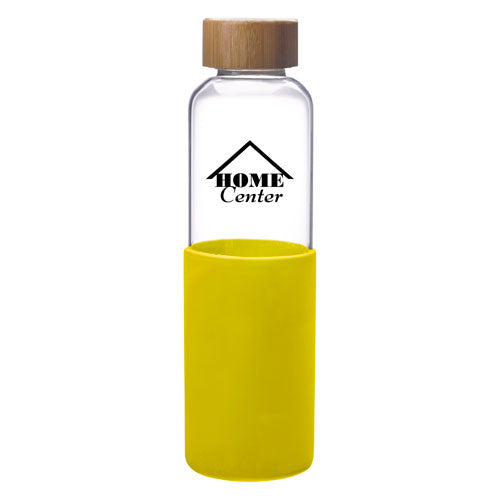 Yellow Custom Modern Glass Water Bottle