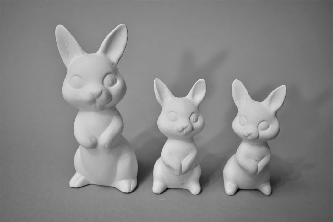 Three Bunnies Ready to Paint