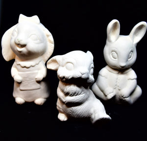 Three Cute Bunnies Ready to Paint.