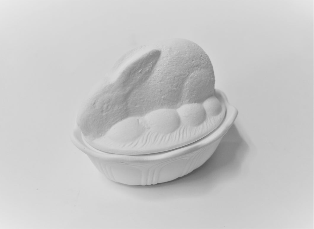 Bunny Bowl with Egg Ready to Paint