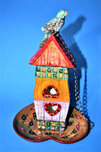 Load image into Gallery viewer, Handmade Ceramic Birdhouse Painted.