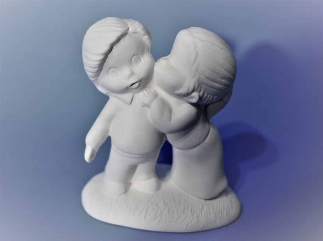 Ceramic Children Kissing Ready to Paint