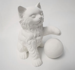 Cat with a Ball Ready to Paint