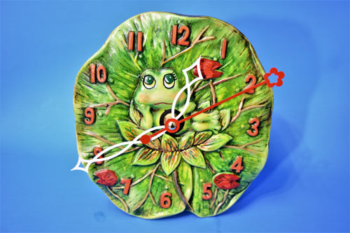 Frog sitting on a Lily Pad Wall Clock.