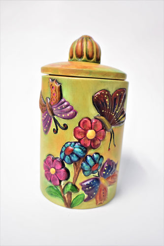 Butterfly Ceramic Canister Hand Painted