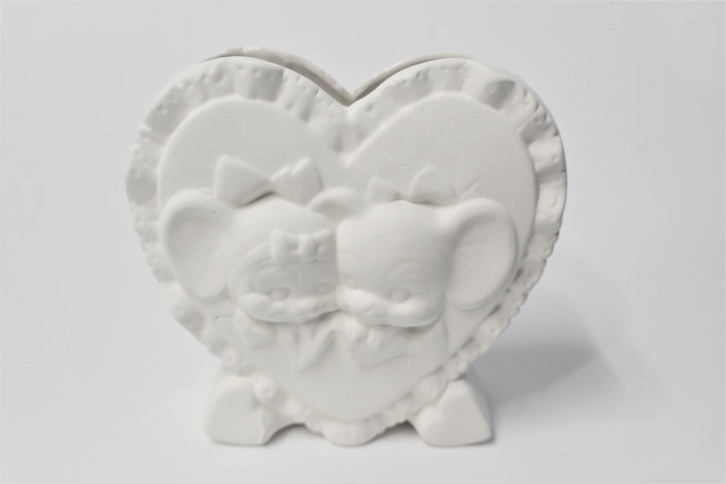 Heart Vase with Cute Mouses