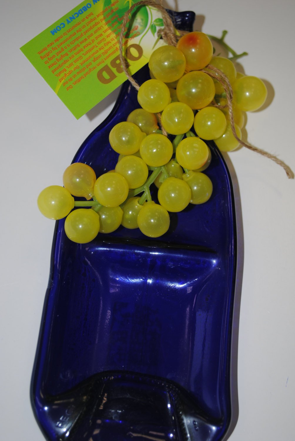 Blue  Flat Melting Wine Bottle, Food Tray Flat Bottle,Melting Bottles.Olga's Treasures