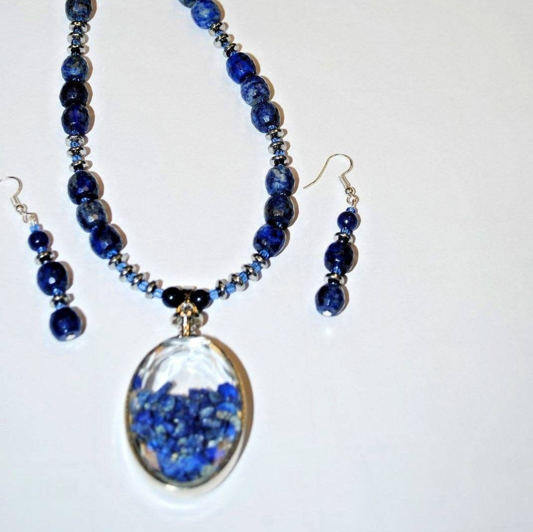 Lapis lazuli Necklace.Natural Lapis Lazuli.Pendant Necklace.Lapis Lazuli Pendant.Long Necklace .Handmade Natural Stone Necklace Set