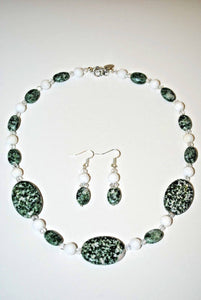 Green Spot Jasperand White Carved Jade Necklace Set.Handmade Natural Stones Jewelry Set.Green Jewelry.Olga's Treasures Shop