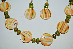 Yellow and Green Shell Necklace. Handmade Necklace Set
