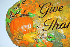 "Handmade Garden stepping Stones. ""Give Thanks"" Garden Stepping Stone.Hand Painted Stepping stone.Olga's Treasures Shop"