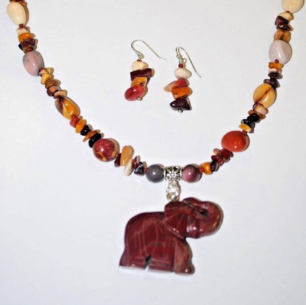 Beaded Jewelry Mookaite Necklace Set.