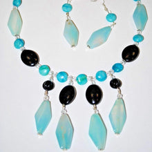 Load image into Gallery viewer, Blue Agate Stone and Black Onyx Necklace Set.Handmade Necklace Set.Handcrafted Jewelry.Olga Beads Designs Jewelry