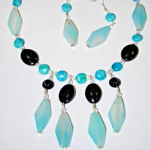 Blue Agate Stone and Black Onyx Necklace Set.Handmade Necklace Set.Handcrafted Jewelry.Olga Beads Designs Jewelry