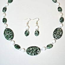 Load image into Gallery viewer, Green Spot Jasperand White Carved Jade Necklace Set.Handmade Natural Stones Jewelry Set.Green Jewelry.Olga's Treasures Shop