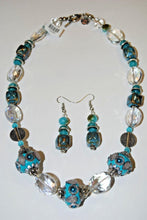 Load image into Gallery viewer, Turquoise Beads.Glass Necklace Set.Glass Jewelry.Fun Necklace.Olga's Necklace