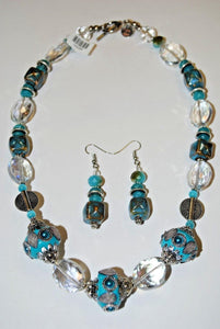 Turquoise Beads.Glass Necklace Set.Glass Jewelry.Fun Necklace.Olga's Necklace