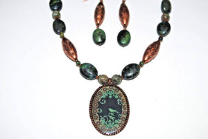 Copper and Chrysocolla Necklace Set. Chrysocolla and Copper Pendant.Bird Pendant Necklace Set