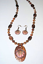 Load image into Gallery viewer, Long Autumn Jasper,Peach Freshwater Pearls and Copper Beads Necklace set.