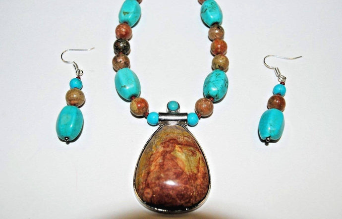Autumn Jasper and Turquoise Magnesite.Multi Stone  Necklace.Olga's Necklaces.Pendant Beaded Necklace.