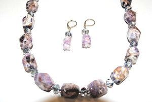 Chevron  Amethyst Nuggets Necklace