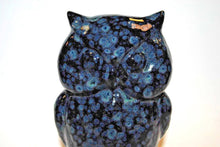 Load image into Gallery viewer, Black and Blue Owl.Ceramic Owl.Blue Owl.Handmade Ceramic Owl.Olga's Treasures