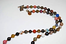 Load image into Gallery viewer, Long Multi Gemstone Necklace with Elephant Pendant.