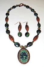 Load image into Gallery viewer, Copper and Chrysocolla Necklace Set. Chrysocolla and Copper Pendant.Bird Pendant Necklace Set