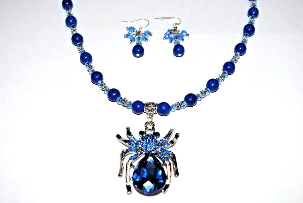 Spider Crystal Pendant Necklace Set.Beaded Spider Necklace.Blue Spider.Handmade Spider Necklace.Olga's Necklaces
