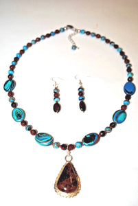 Mahogany Pendant and Rainbow Calsilica Beaded Necklace Set.Olga's Treasures Shop