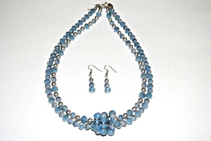 Blue Gray  Necklace set. Beaded Necklace Set. Glass Beaded Necklace.Olga's Treasures