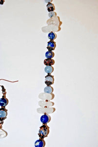 Blue Imperial Jasper Necklace.Quartz Nuggets Necklace.Light Blue Necklace set.Olga's Treasures Shop