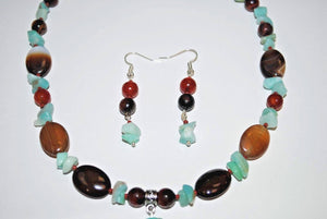 Moroccan Agate,Dream agate and Amazonite Chips. Dream Agate Necklace Set.Amazonite Chips.Olga's Treasures Shop