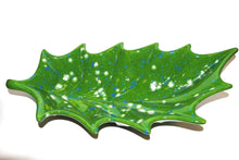 Load image into Gallery viewer, Long Ceramic Centerpiece Plate Leaf.Green and white Long ceramic leaf.Handmade Ceramic Leaf.Olga's Treasures ceramics