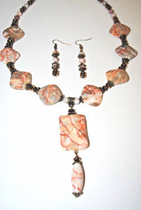 Light Brown Spot Jasper.Pink Jasper.Jasper and Brass Necklace Set.