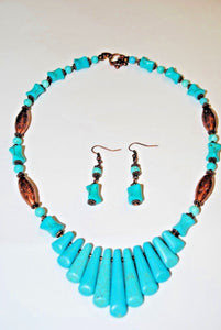 Magnesite and Copper Beads.Copper Necklace.Short Necklace.Turquoise Necklace Set.Magnesite Turquoise Necklace.Olga's Treasures Shop