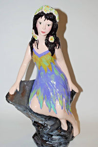 Garden Statue Girl.Handmade Ceramic Garden Decor.Patio Girl Statue