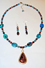Load image into Gallery viewer, Mahogany Pendant and Rainbow Calsilica Beaded Necklace Set.Olga's Treasures Shop