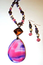 Load image into Gallery viewer, Purple,Rose,Freshwater Pearls and copper Beads. Bohemian Necklace Set.Olga's Treasures Shop