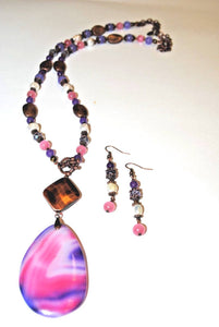 Purple,Rose,Freshwater Pearls and copper Beads. Bohemian Necklace Set.Olga's Treasures Shop