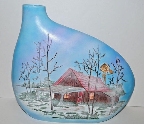 Hand Painted Vase. Winter Cabin In the Woods Vase. Ceramic Hand Painted Vase.Olga's Treasures Shop