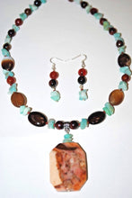 Load image into Gallery viewer, Moroccan Agate,Dream agate and Amazonite Chips. Dream Agate Necklace Set.Amazonite Chips.Olga's Treasures Shop